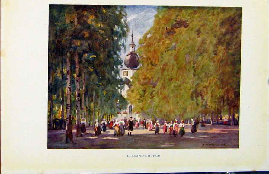 Print Colour Plate Sweden 1927 Leksand Church 248371 Old Original