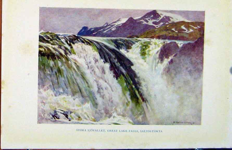 Print Colour Plate Sweden 1927 Sotra Sjofallet Lake Falls 308371 Old Original