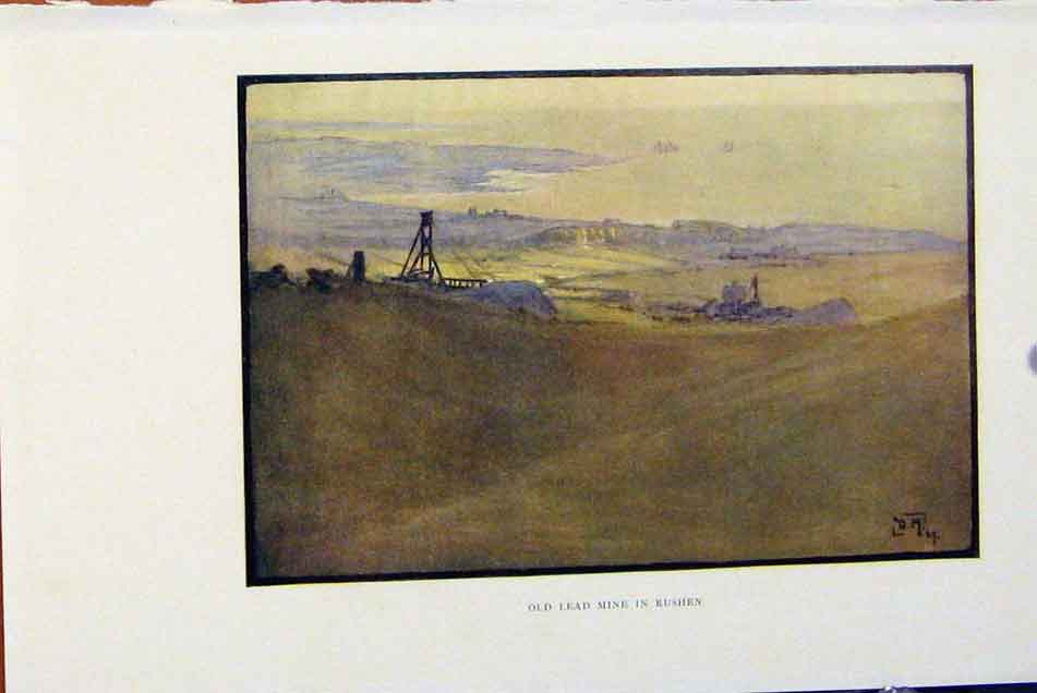 Print Isle Man By Donald Maxwell Led Mine Rushen C1909 318381 Old Original