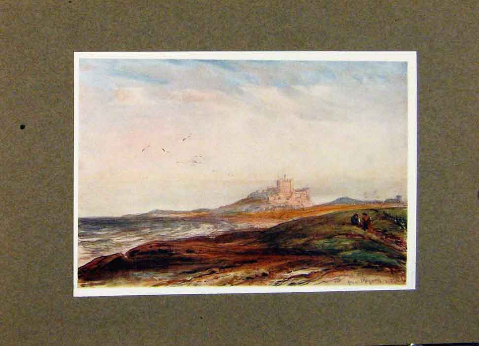 Print Bamborough From Stag Rock By James Orrock 038391 Old Original