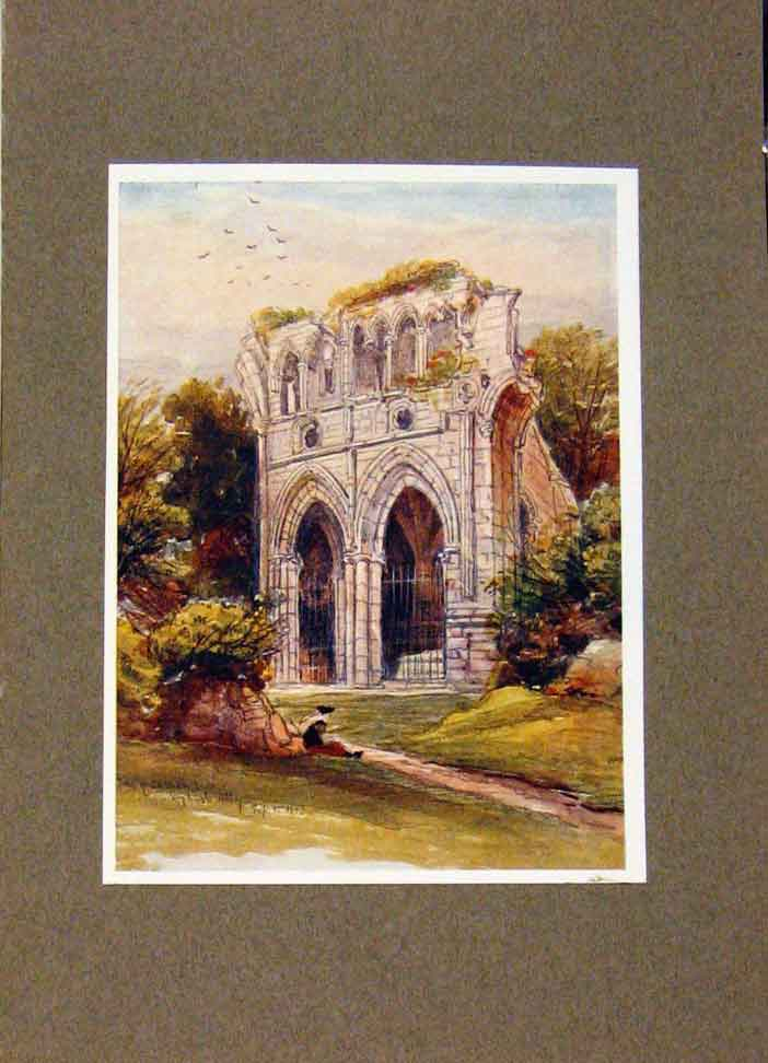 Print Dryburgh Abbey And Scotts Tomb By James Orrock 178391 Old Original