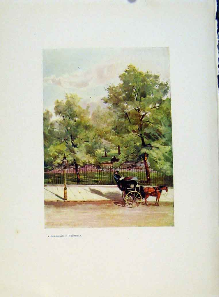 Print Charm Gardens Cab Driver Piccadilly By Calthrop 138401 Old Original