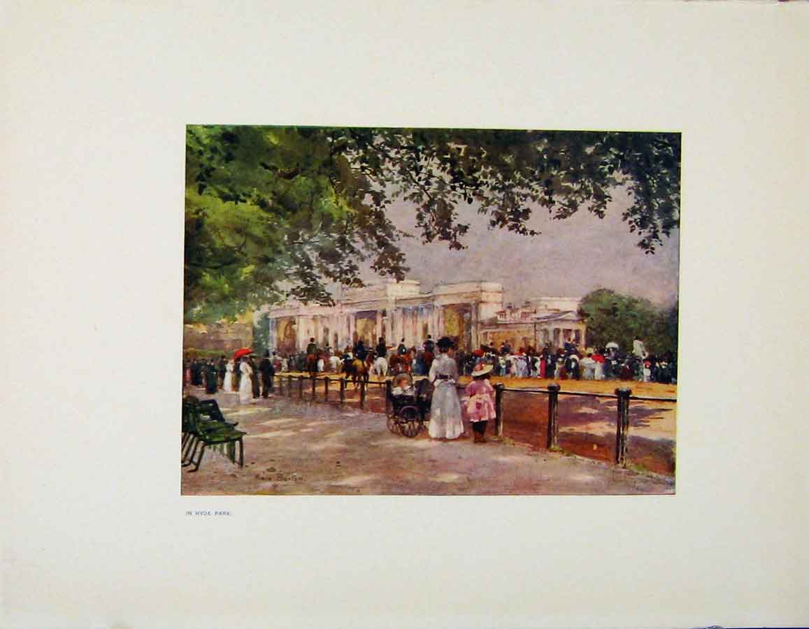 Print Charm Gardens In Hyde Park By Calthrop 228401 Old Original