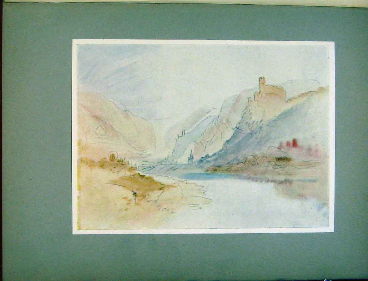 Print Plate Xiv Sketch Cochem Moselle Water Color Turner 378411 Old Original