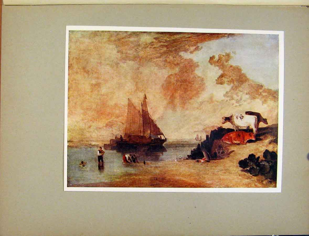 Print Plate Xi River Scene With Cattle Turners Art 408411 Old Original