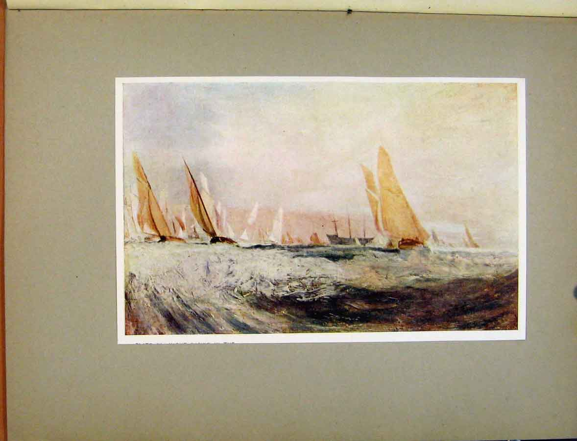 Print Plate Iv Yacht Racing In The Solent Turners C1925 478411 Old Original