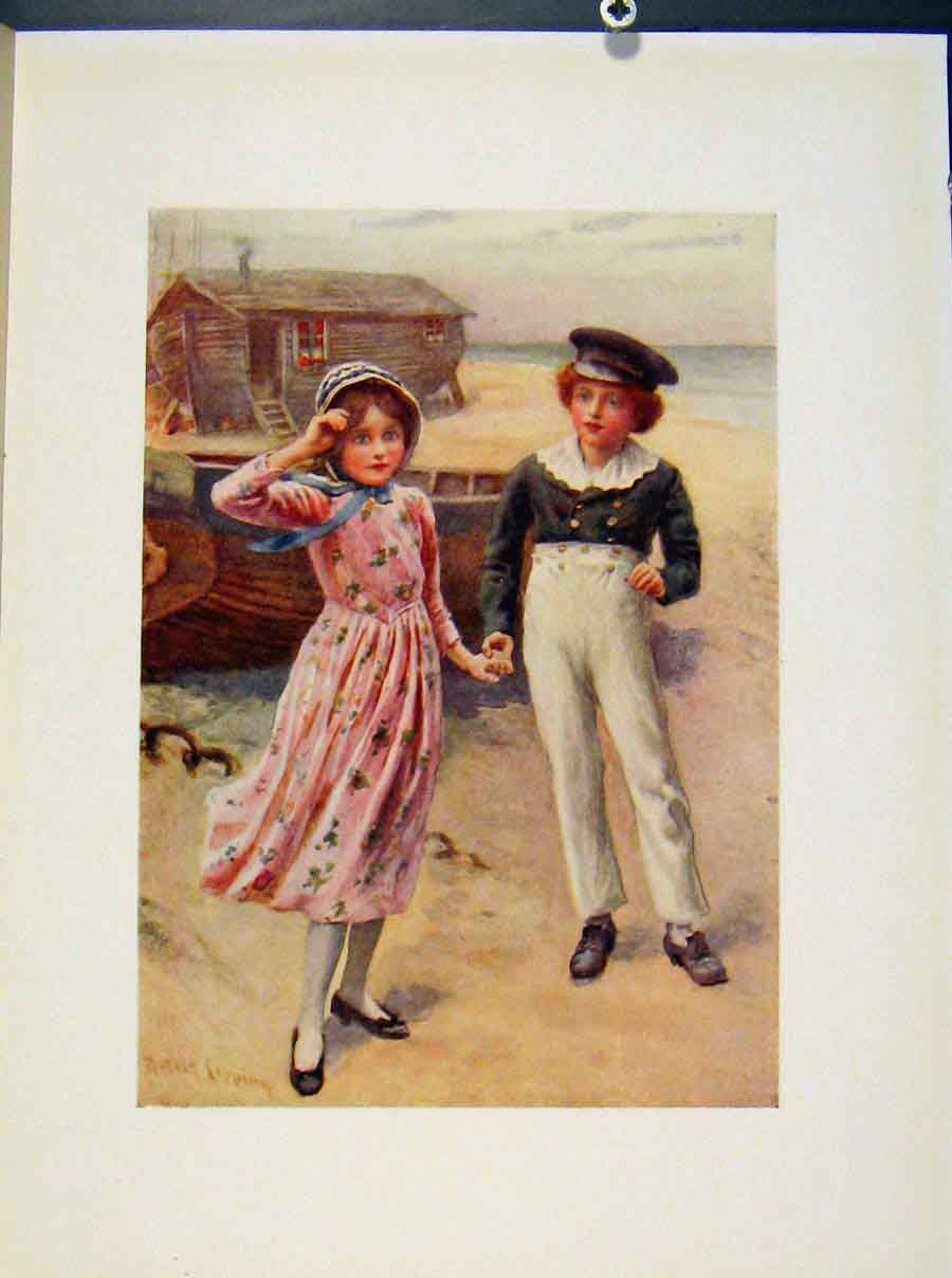 Print David And Little Emly From Dickens By Harcopping 168421 Old Original