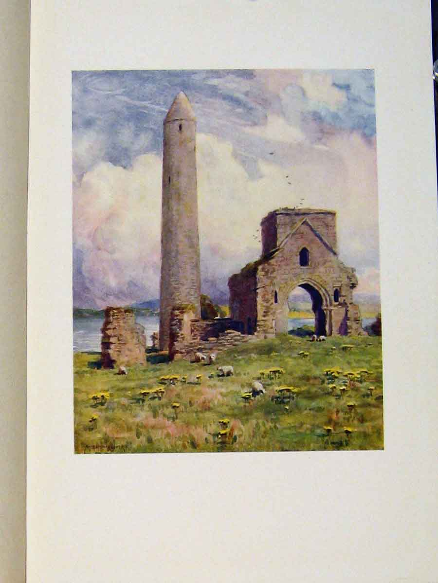 Print Round Tower And Abbey Devenish Isle Ireland 018431 Old Original