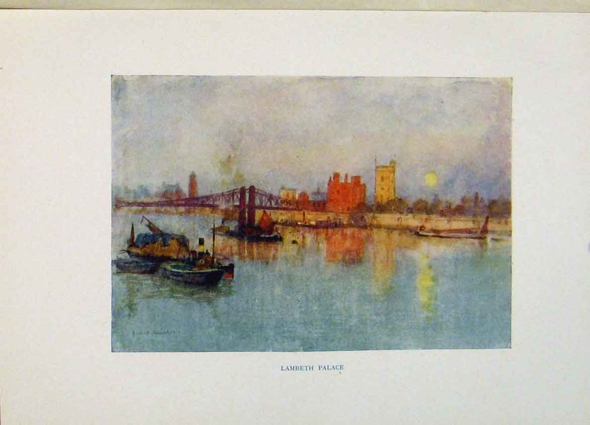 Print London Art Lambeth Palace C1916 Color 058441 Old Original