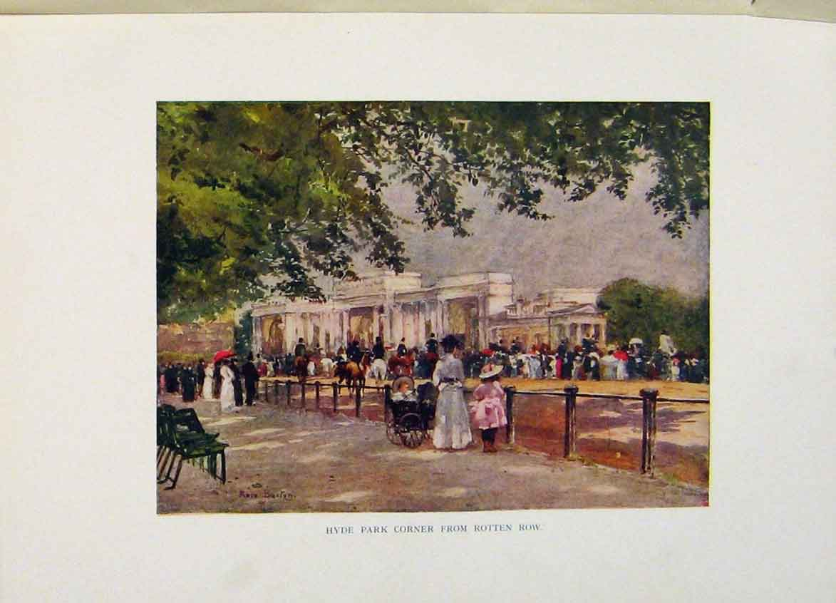 Print Hyde Park Corner From Rotten Row London C1916 178441 Old Original