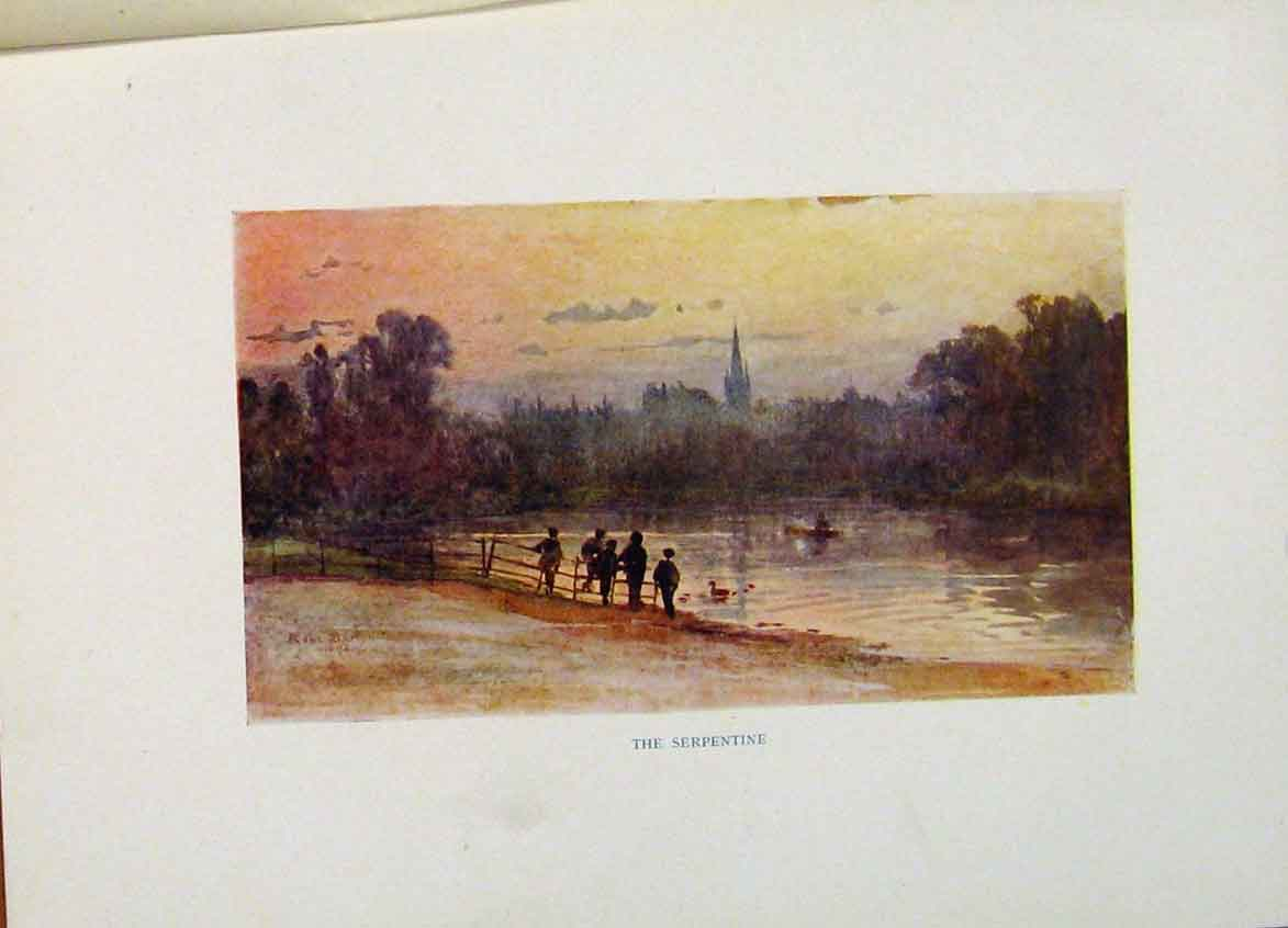 Print Serpentine London Color Fine Art C1916 238441 Old Original