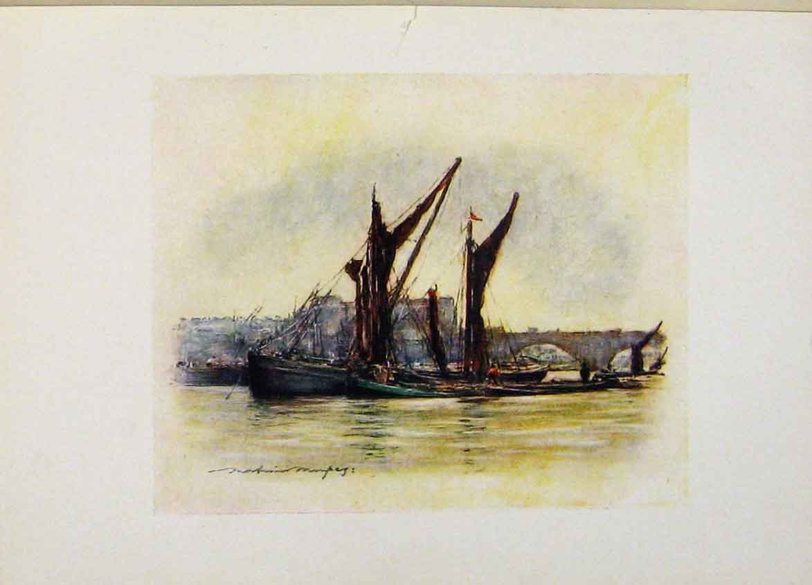 Print Londond Hay Barges Near Chelsea C1916 278441 Old Original
