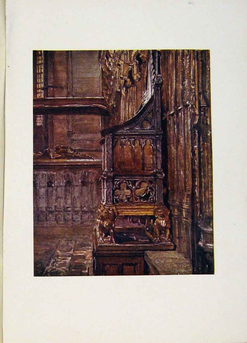 Print Coronation Chair Westminster Abbey London 328441 Old Original