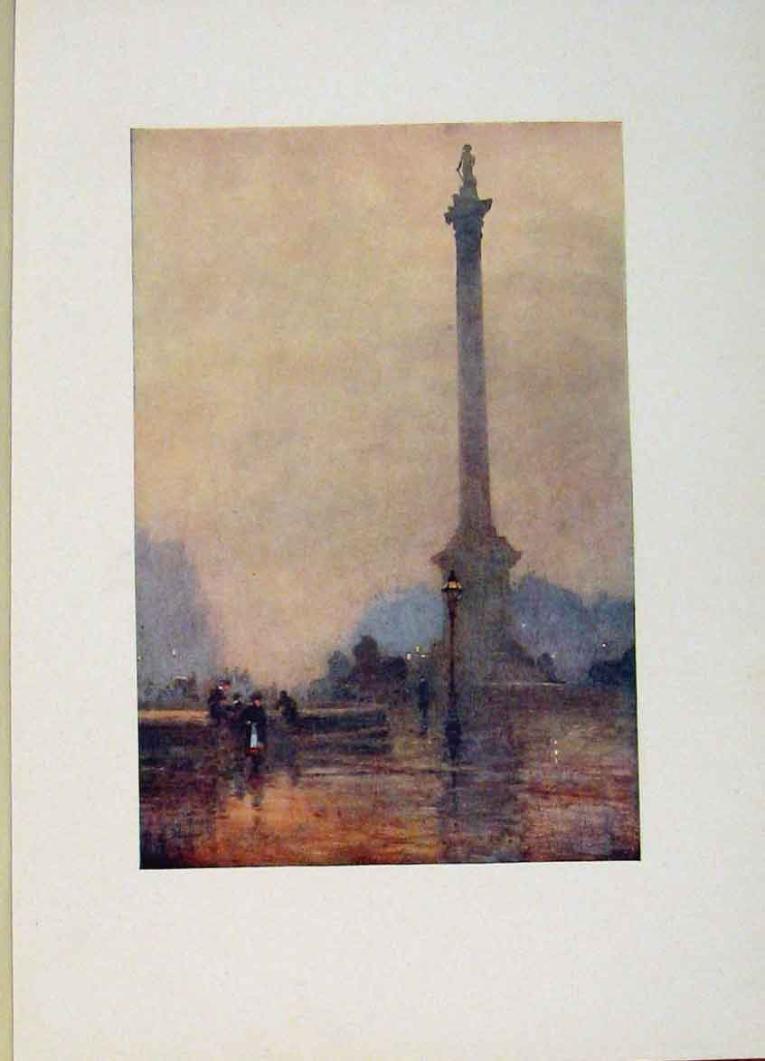 Print London Nelsons Column On A Foggy Day 378441 Old Original