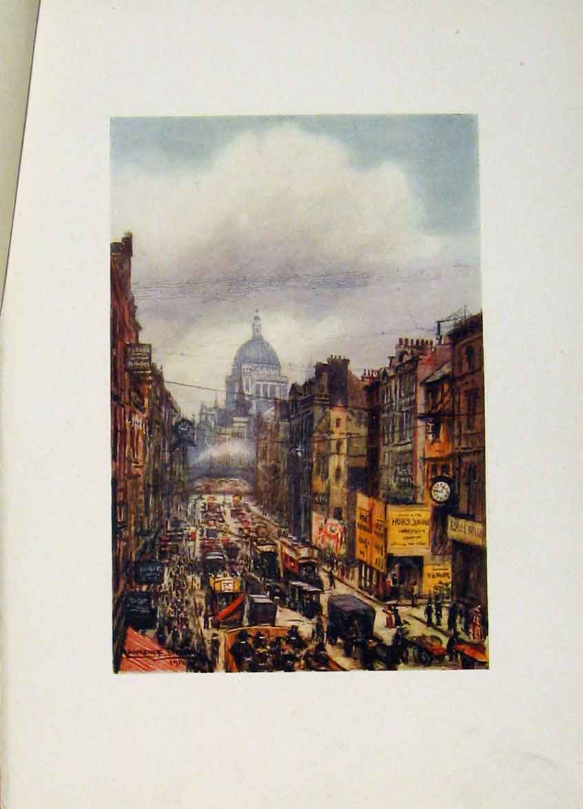Print C1916 Color London St Pauls Fleet Street 458441 Old Original