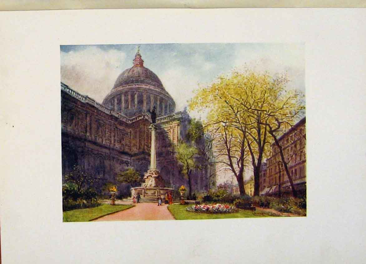 Print St Pauls From The North East Corner Churchyard 528441 Old Original