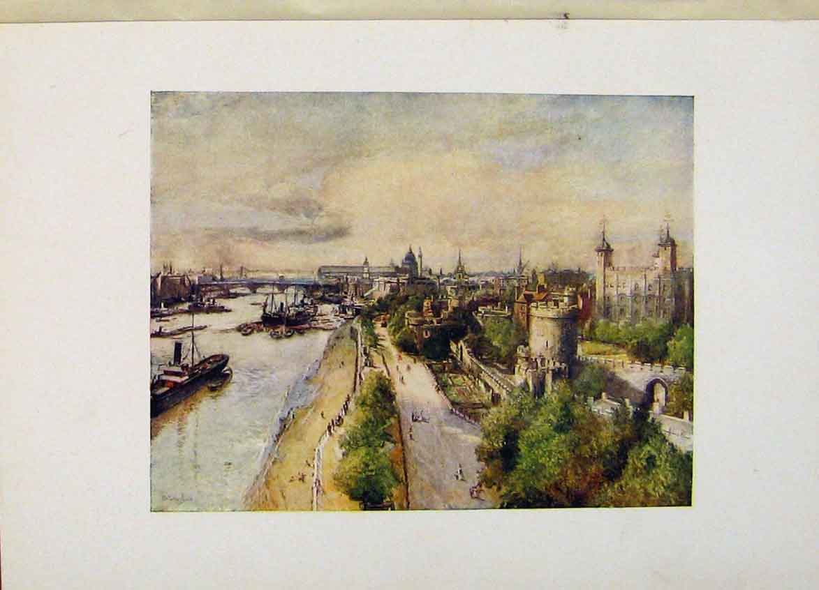 Print Tower And River London Fine Art C1916 568441 Old Original