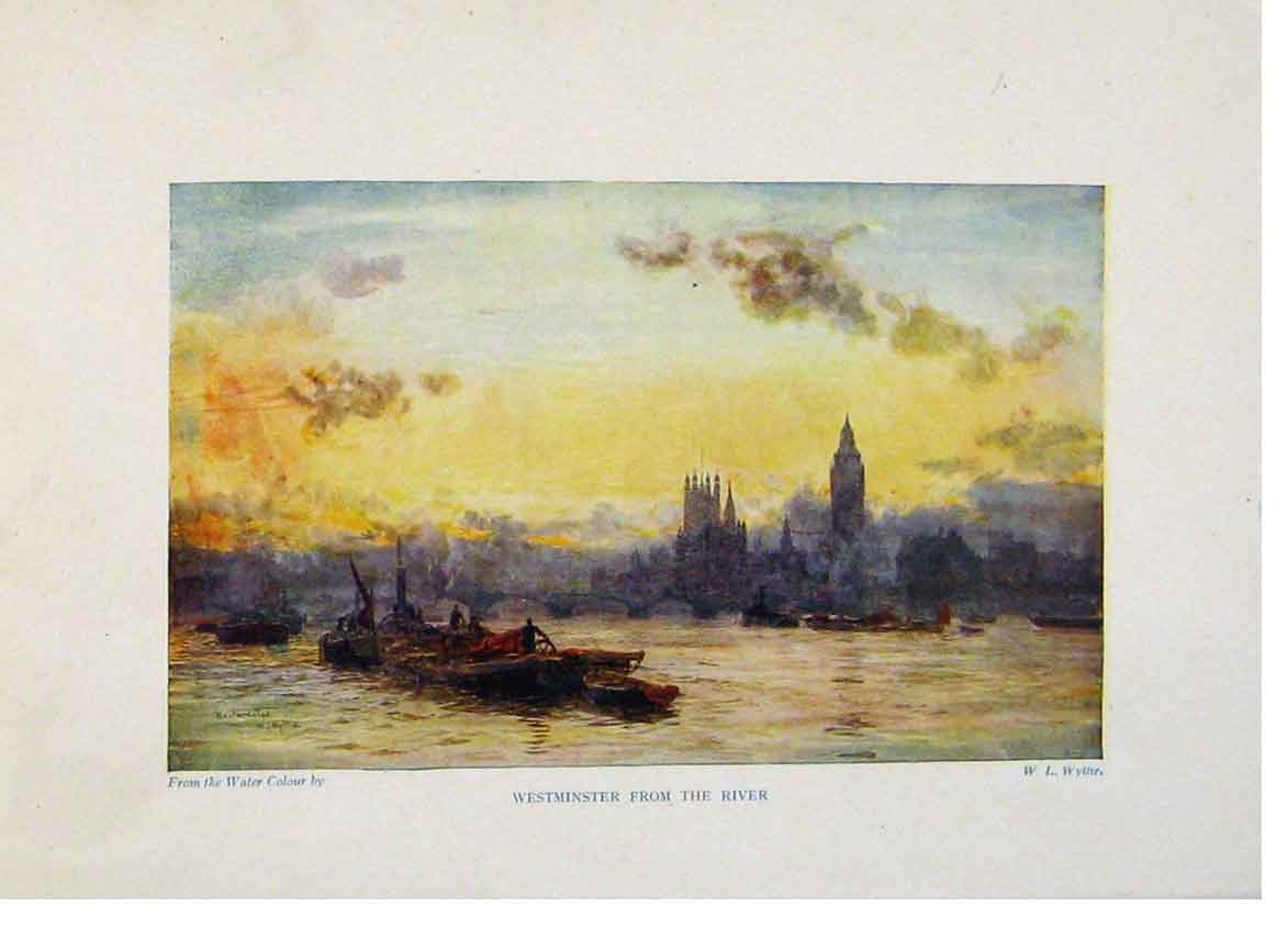 Print London C1916 Color Westminster And River 598441 Old Original