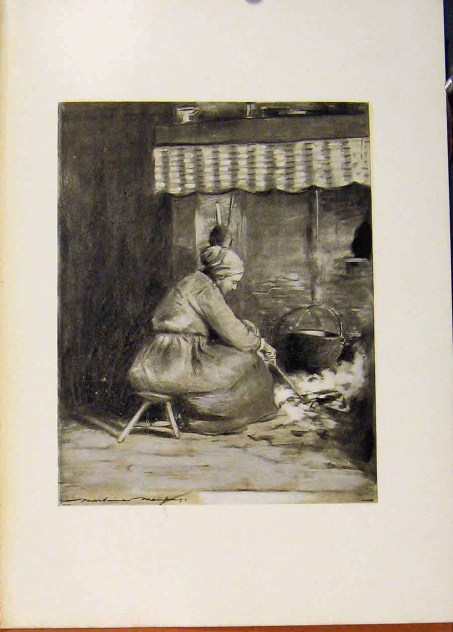 Print C1902 An Fashioned Hearth Fine Art 098451 Old Original