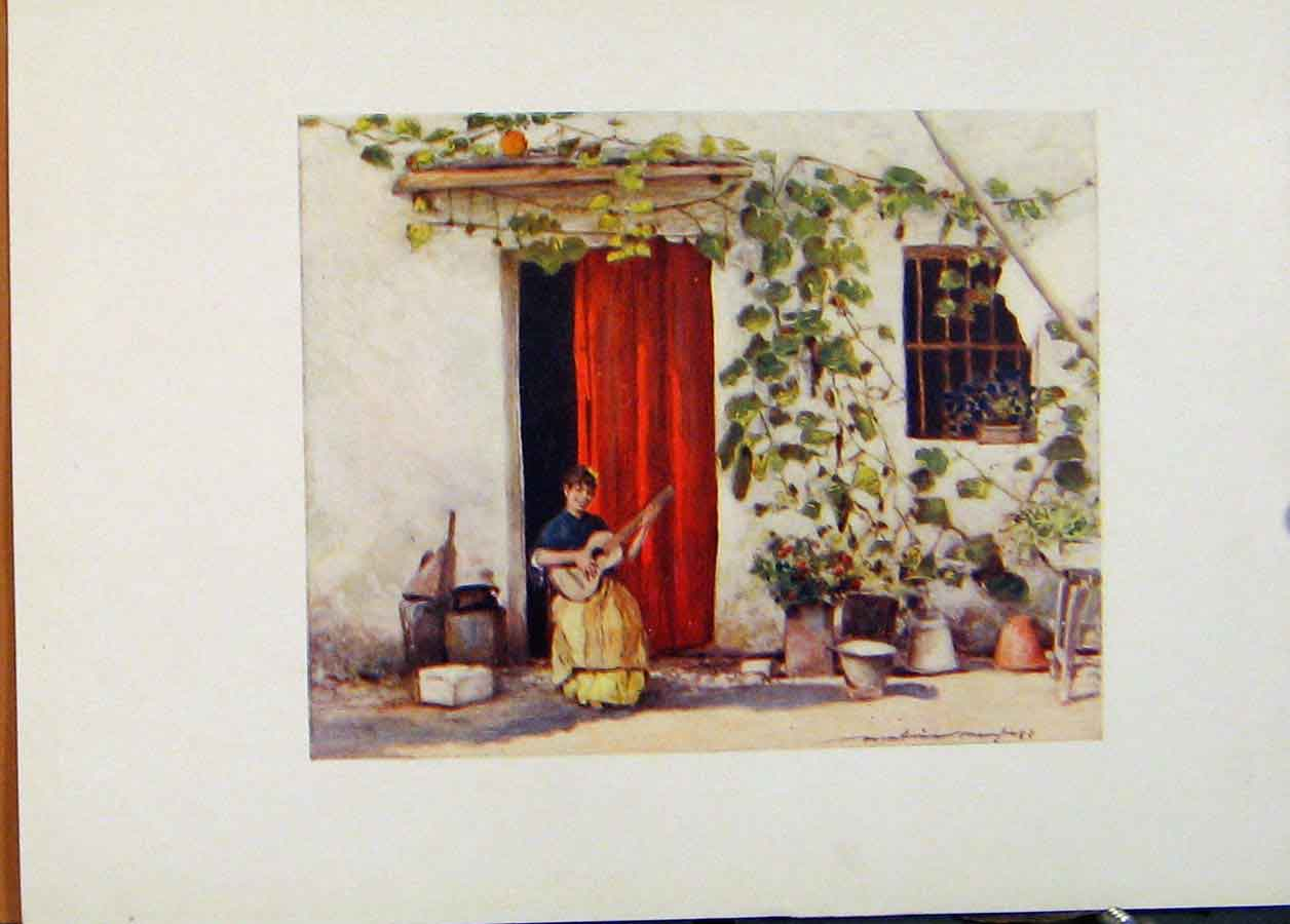 [Print World Pictures Spain Seville A Courtyard 218451 Old Original]