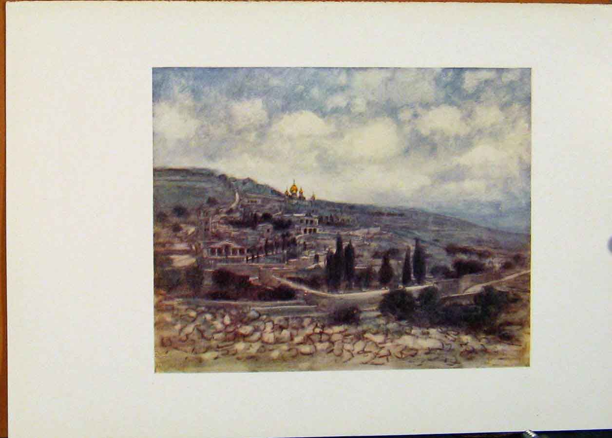 Print Mount Olives Holy Land World Pictures 298451 Old Original