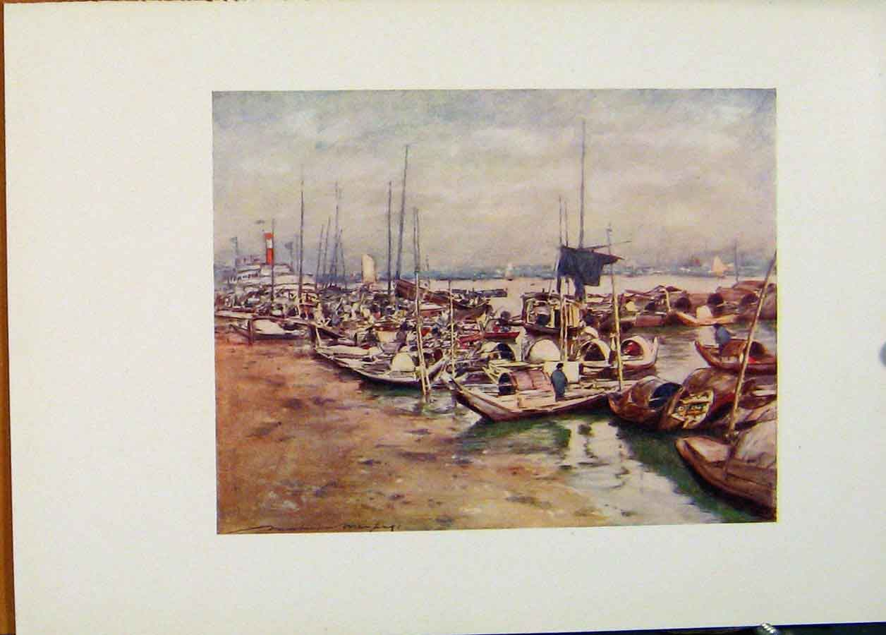 Print C1902 World Pictures River Scene China 458451 Old Original