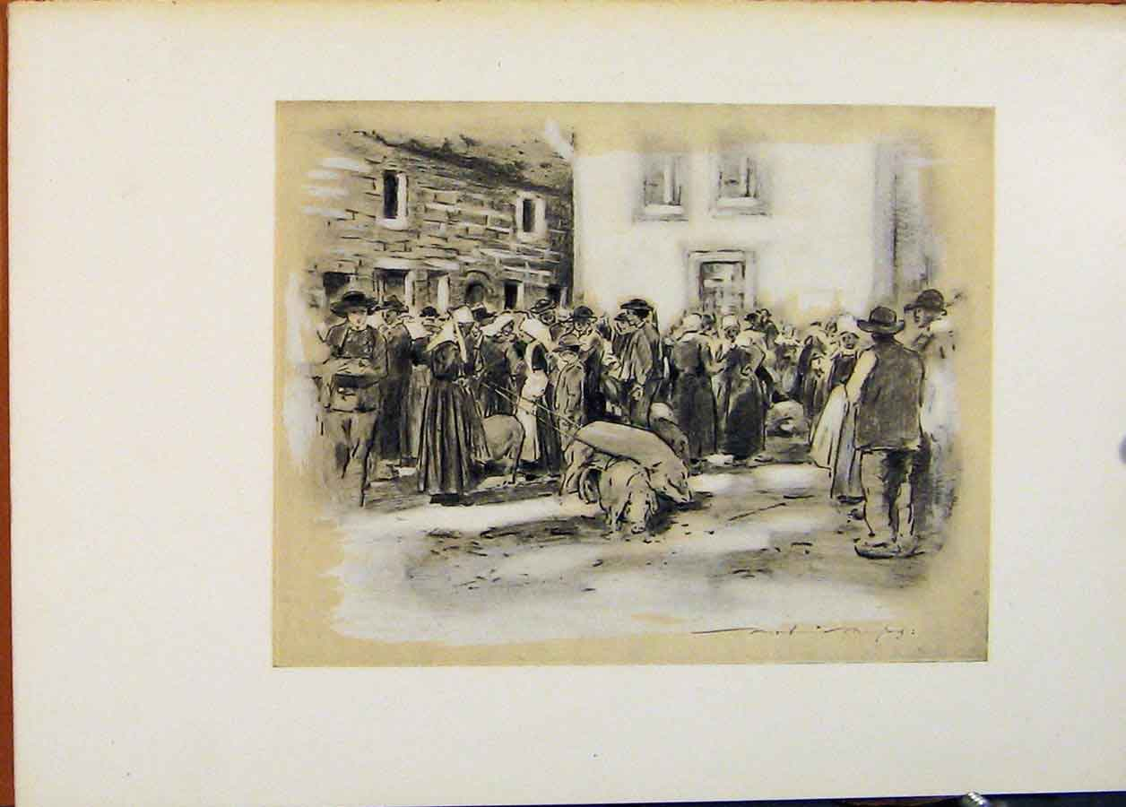 Print Pig Market World Pictures Fine Art C1902 598451 Old Original
