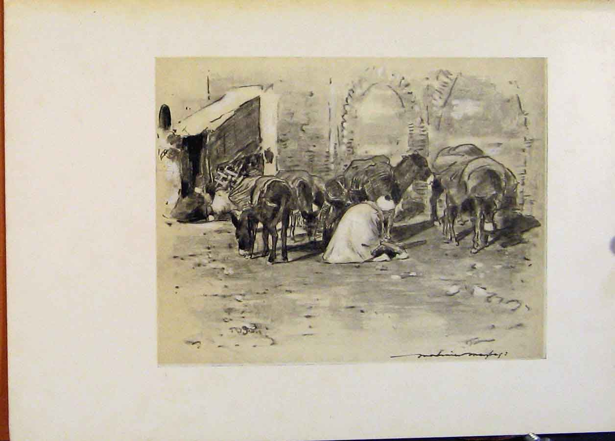 Print Street Scene In Tangiers World Pictures 728451 Old Original