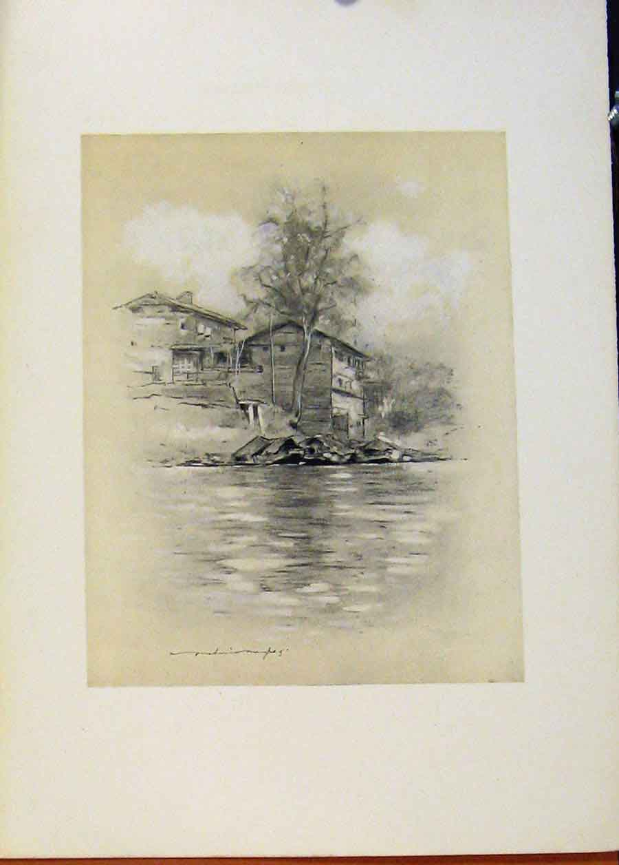 Print World Pictures River Dwelling At Srinagar 888451 Old Original