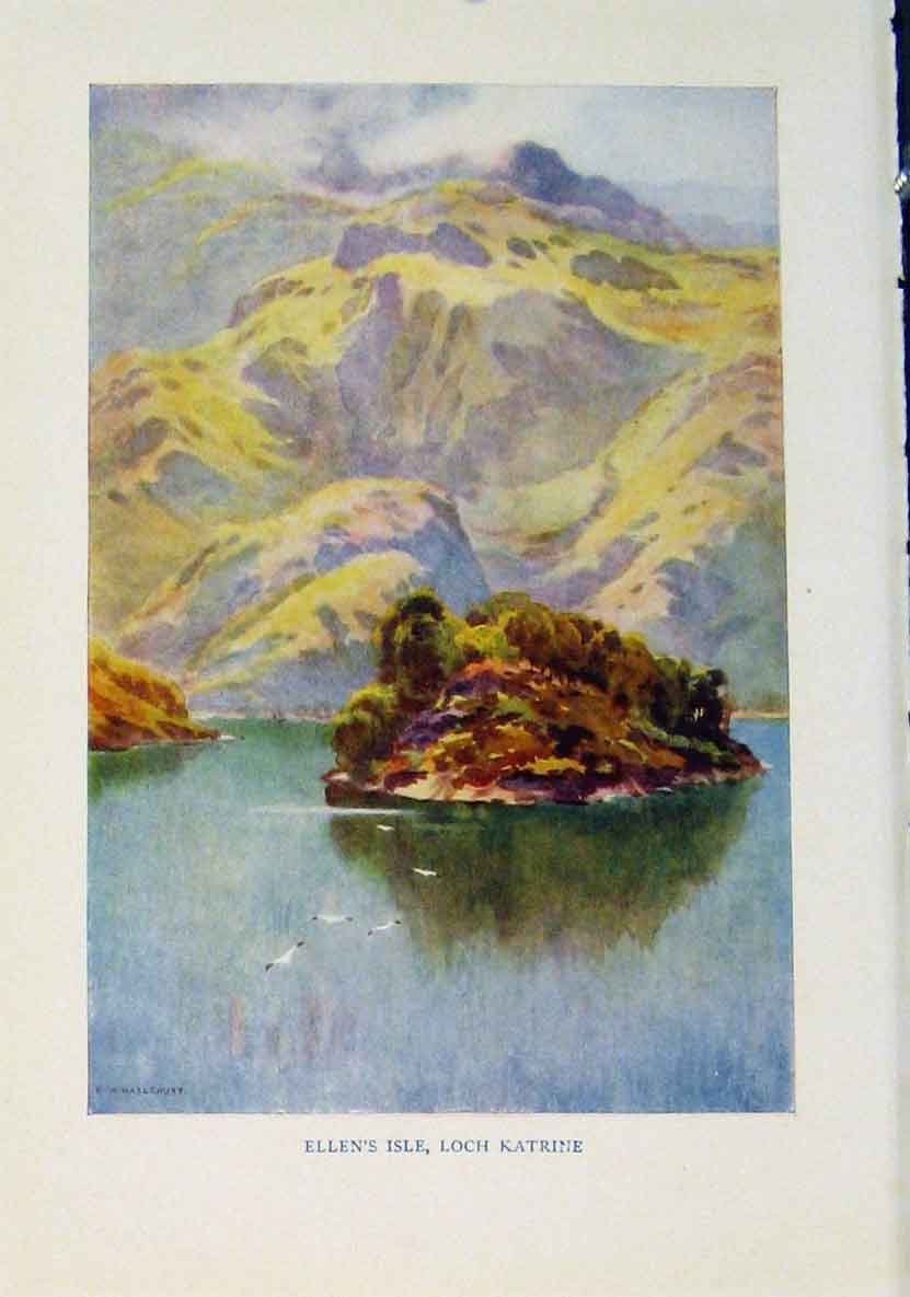 Print Ellens Isle Loch Katrine Beautiful Scotland 488461 Old Original