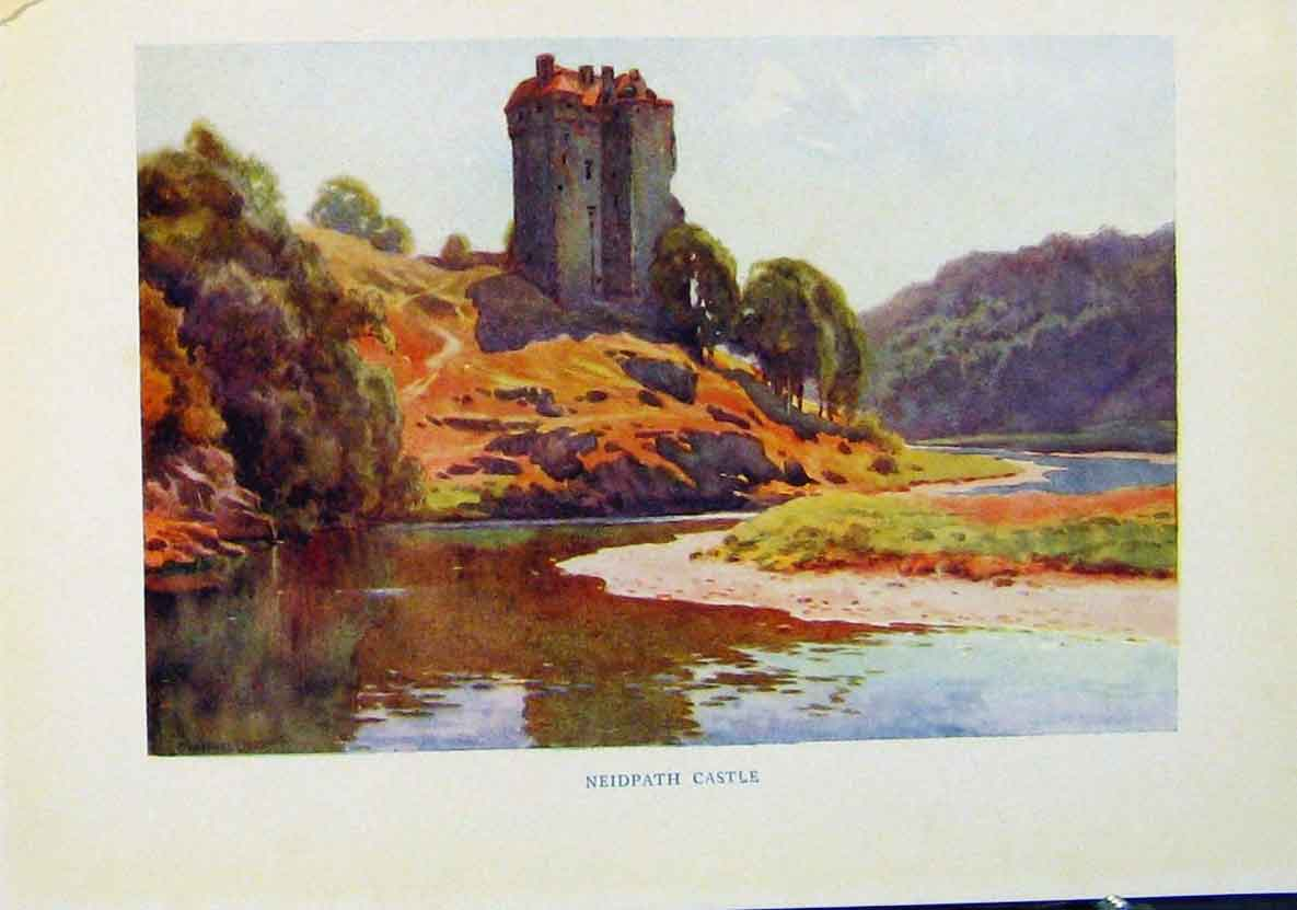 Print Neidpath Castle Beautiful Scotland By E W Haslehurst 678461 Old Original