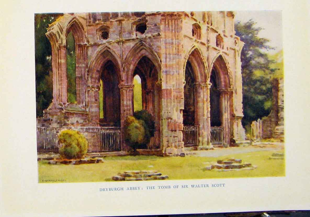 Print By Haslehurst Dryburgh Abbey Tomb Sir Walter Scott 738461 Old Original