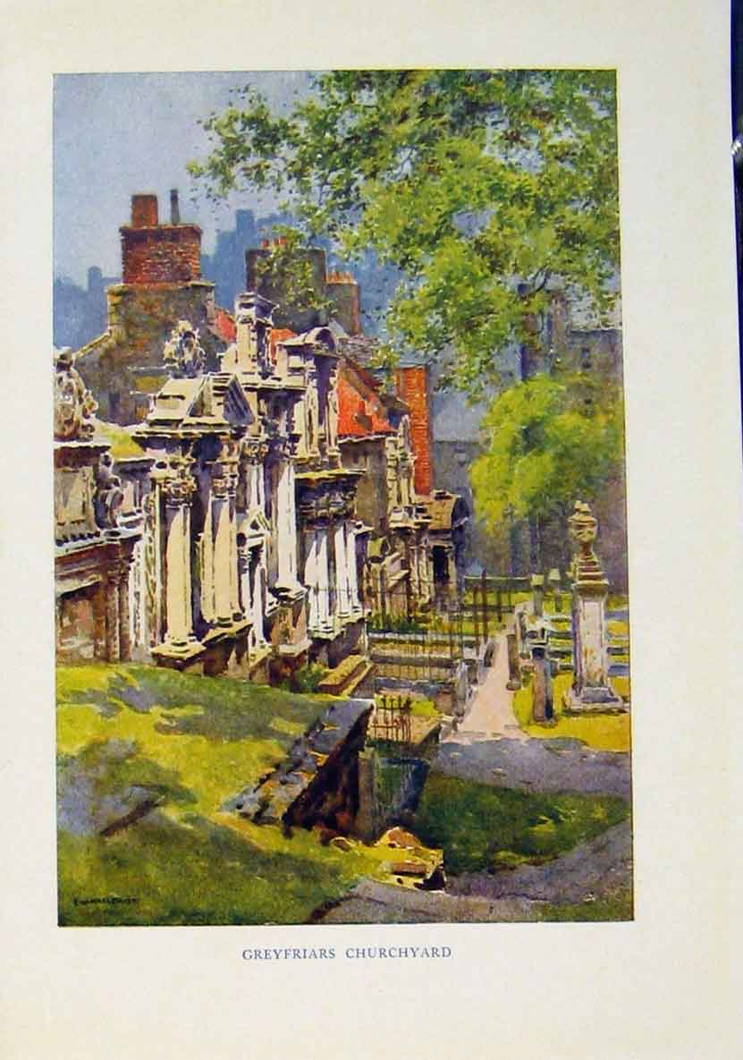 Print Greys Friars Churchyard Beautiful Scotland 818461 Old Original