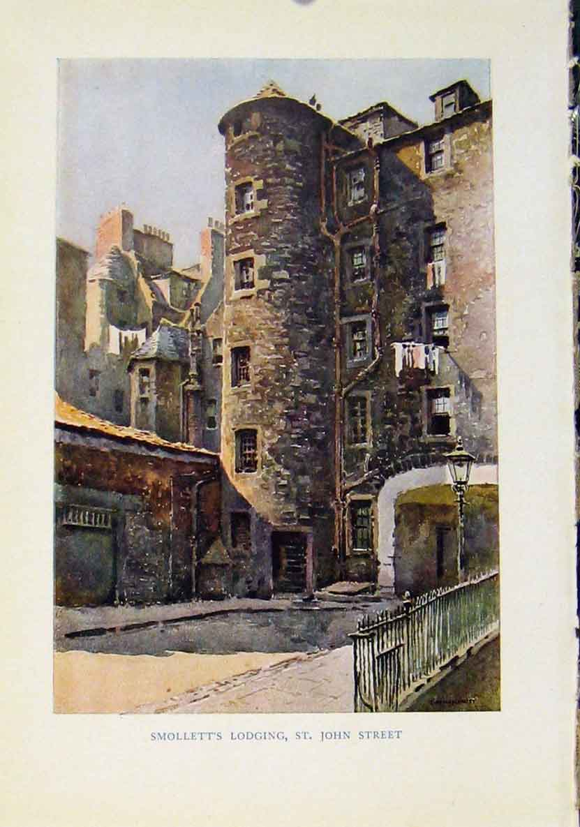 Print Beautiful Scotland Smolletts Lodging St John Street 848461 Old Original