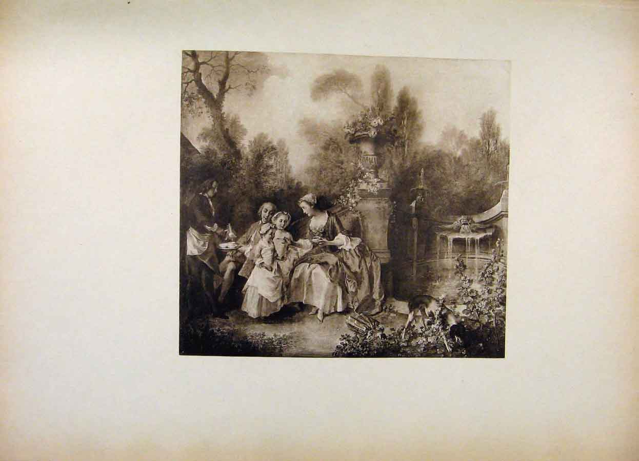 Print French Art A Garden Party By Lancret 048561 Old Original
