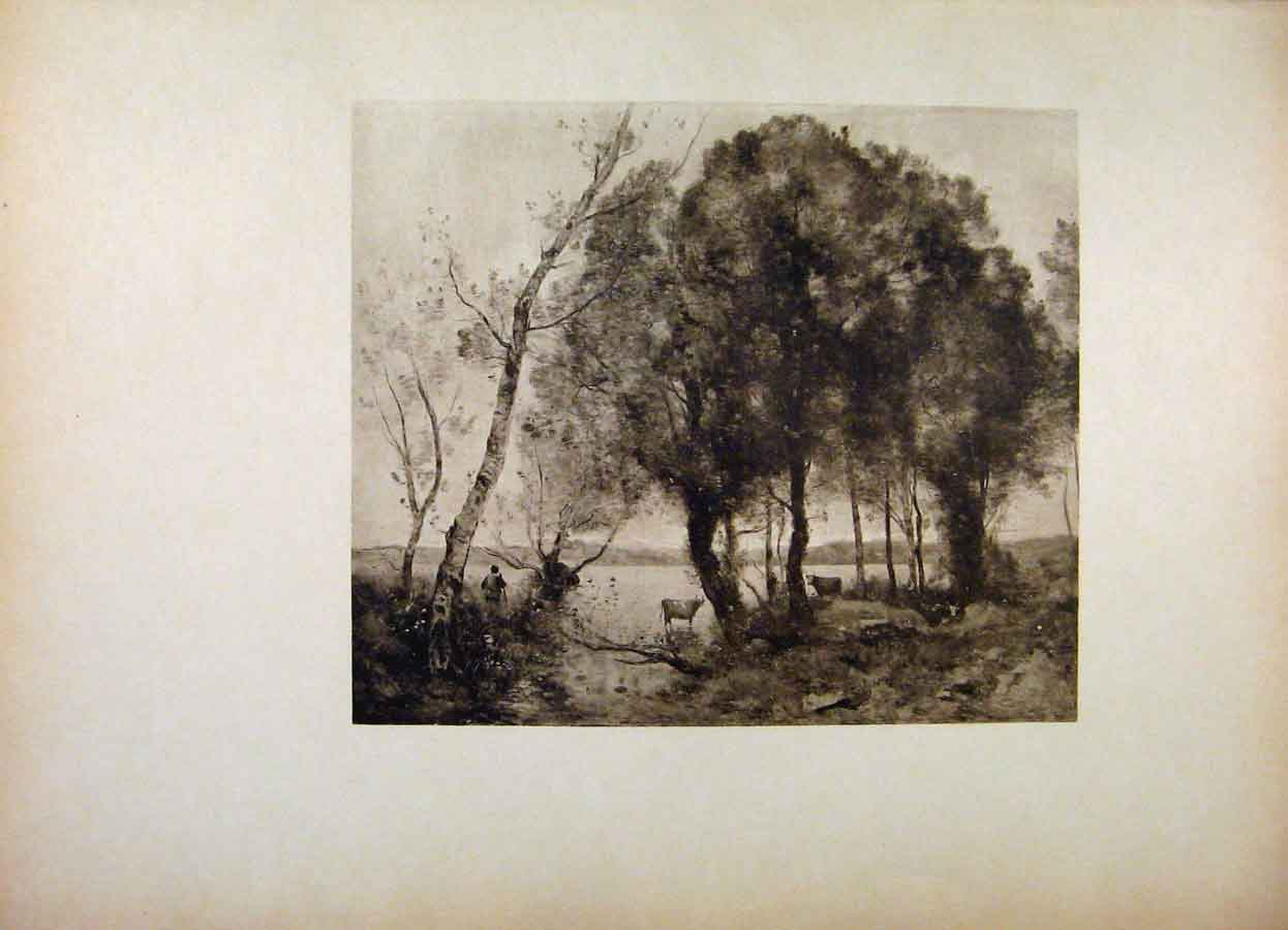 Print French Art The Lake By Corot Fine Art 168561 Old Original