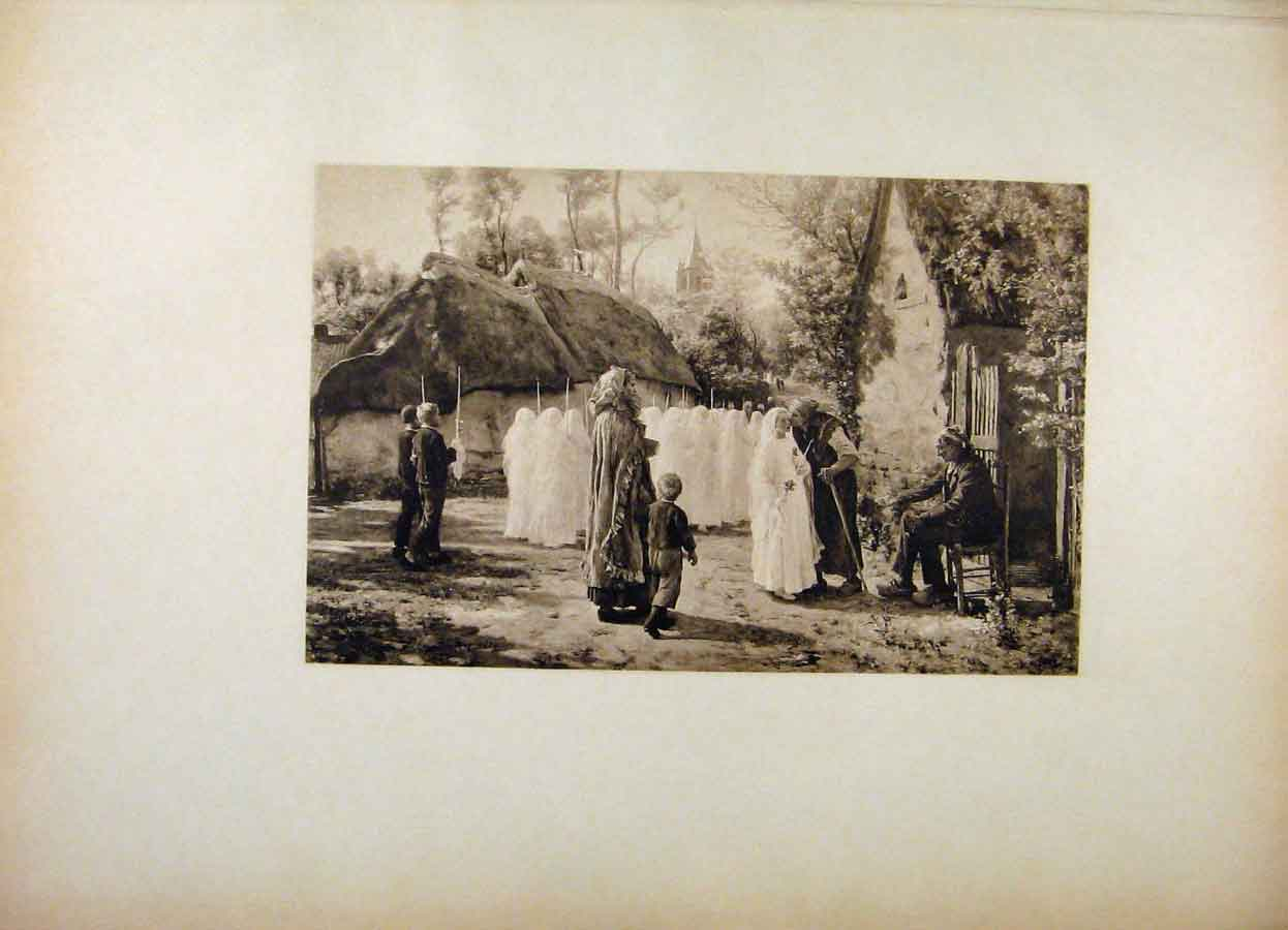 Print French Art Communicants The First Communion Breton 188561 Old Original