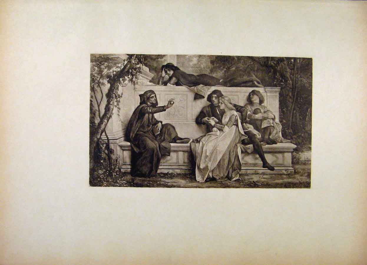 Print French Art Florentine Poet By Alexandre Cabanel 208561 Old Original