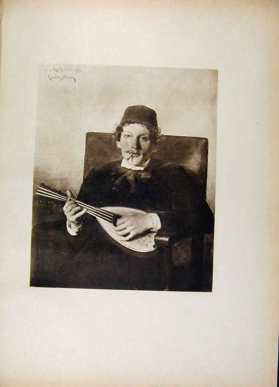 Print French Art Poet With The Mandoline By Carolus Duran 248561 Old Original