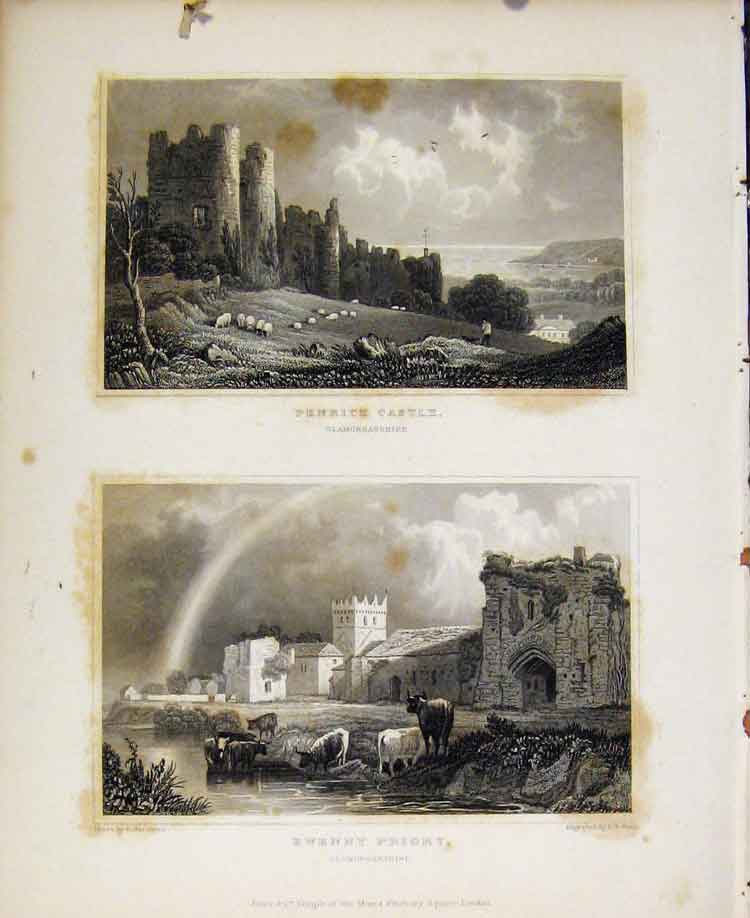 Print Penrice Castle Ewenny Priory Glamorganshire 028601 Old Original
