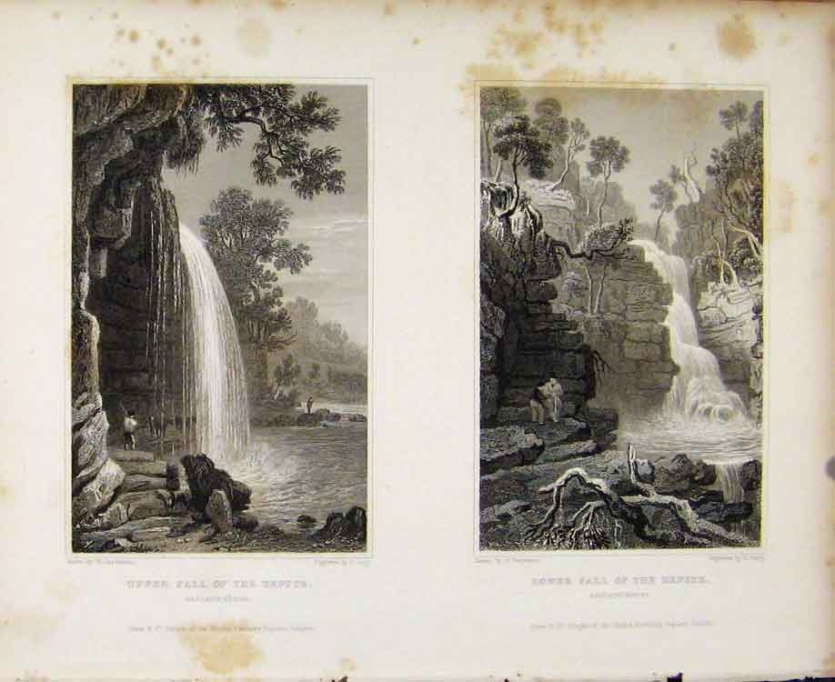 Print Upper And Lower Fall Hepste Brecknockshire C1829 068601 Old Original