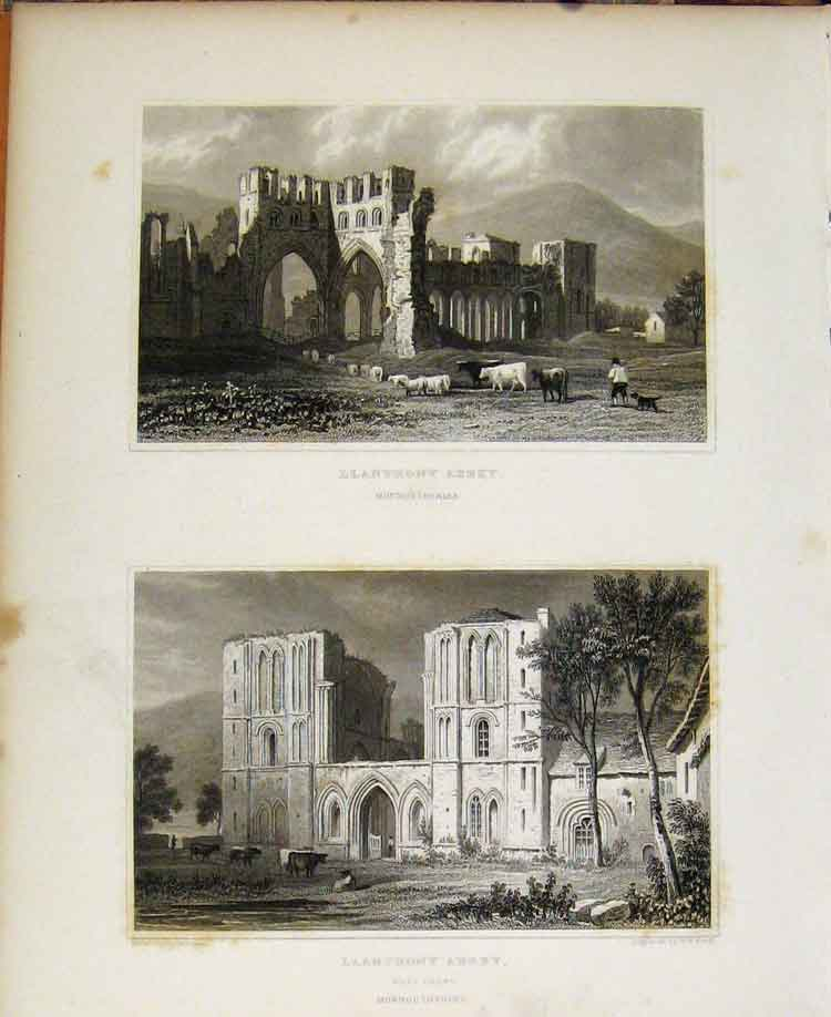 Print Llanthony Abbey Monmouthshire C1829 Wales Illustrated 158601 Old Original