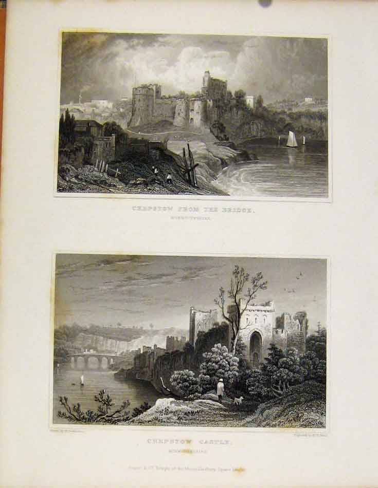 Print Chepstow From The Bridge & Castle Monmouthshire Wales 468601 Old Original