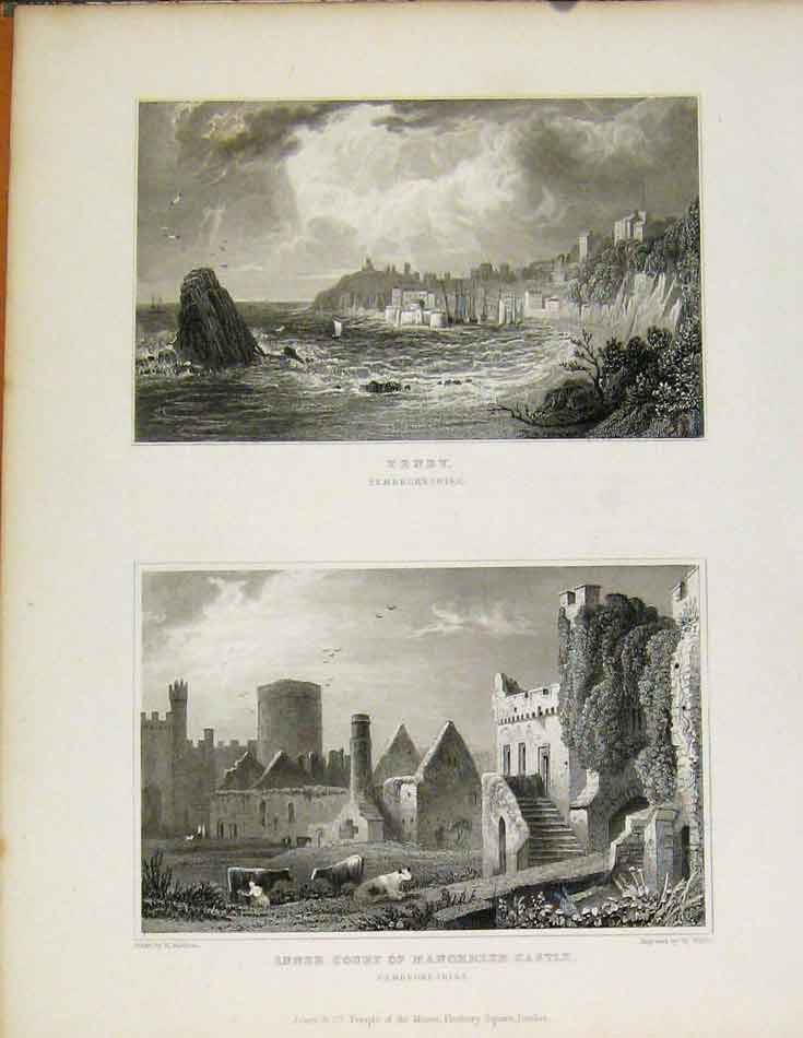 Print Tenby And Inner Court Monorbeer Castle Pembrokeshire 498601 Old Original