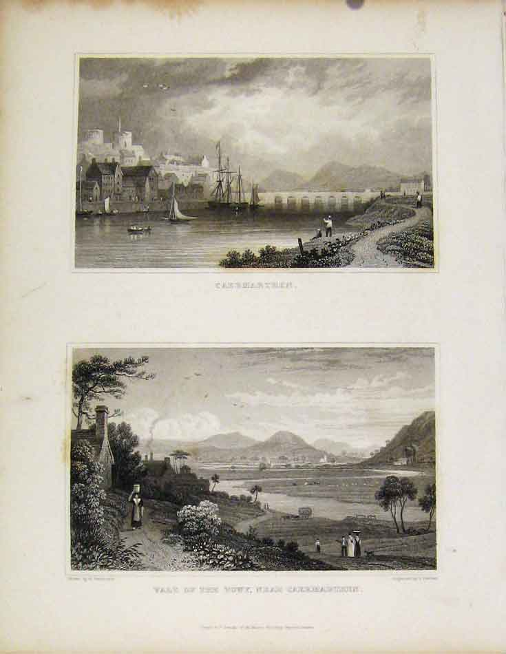Print Caermarthen And Vale Towy Wales Illustrated 548601 Old Original