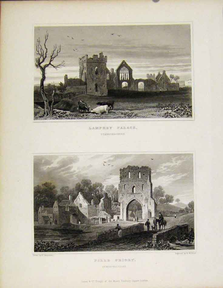 Print Lamphey Palace & Pille Priory Pembrokeshire Wales 618601 Old Original