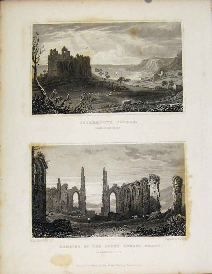 Print Ostermouth Castle & Remains Abbey Church Neath Wales 668601 Old Original