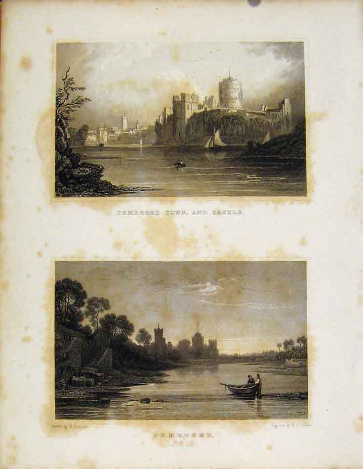 Print Pembroke Town And Castle Wales Illustrated 688601 Old Original