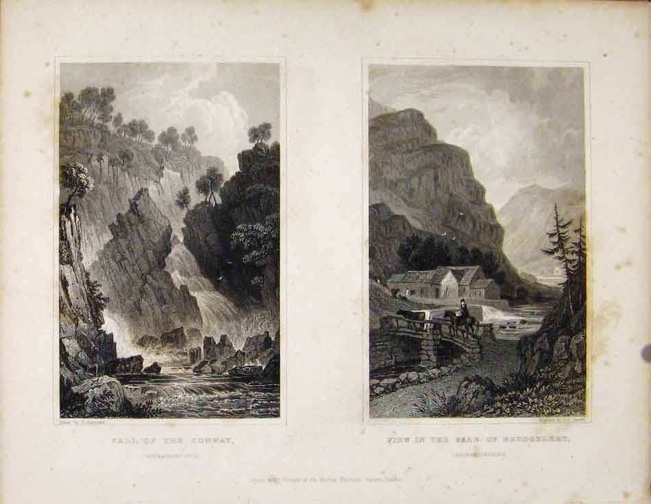 Print Fall Conway & View In Vale Beddgelert Wales 718601 Old Original