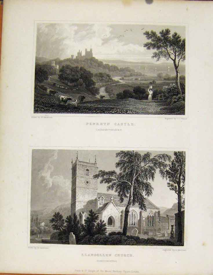 Print Penrhyn Castle & Llangollen Church Wales 748601 Old Original